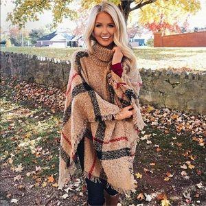 Sweaters - Plaid Turtleneck Poncho Sweater